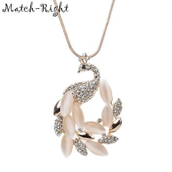 Match-Right Women Necklace Long Necklaces & Pendants Peacock Necklace For Women Jewelry NL619