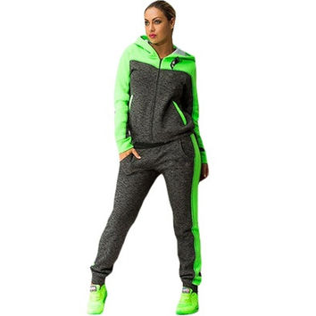 2016 Hot Sale Casual Plus Size Two-piece Suit Long Sleeve Zipper Hooded Tops Slim Long Pants Green/Pink (S-2XL) [8833387532]