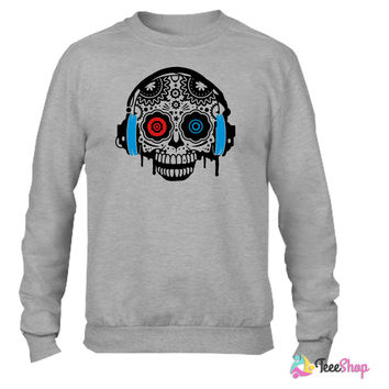 A Sugar Skull with headphones Crewneck sweatshirtt