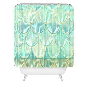 Cori Dantini Turquoise Scallops Shower Curtain