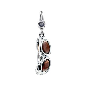 Sterling Silver and Enameled 3D Brown Sunglasses Clip-On Charm