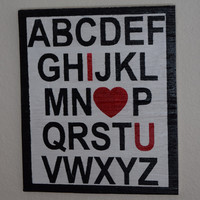 Love You Sign, ABC'S, Heart Sign, Valentine's Day Sign, Gift For Her, Gift for Him,