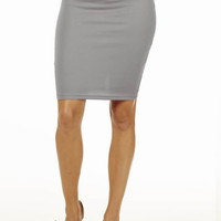 Charcoal High Waisted Pencil Skirt