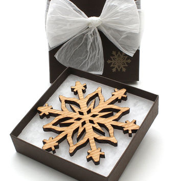 Babys First Christmas Ornaments Red Oak Snowflake Design . Timber Green Woods