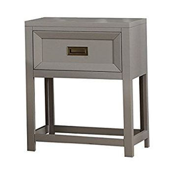 InRoom Designs No Tools Assembly Grey Kids Bedroom Furniture, Night Stand
