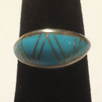ON SALE Yazzie Turquoise Sterling Ring Sz 7 Navajo Silver 925 Blue Sleeping Beauty Inlay MY Genuine Vintage Tribal Southwestern Jewelry