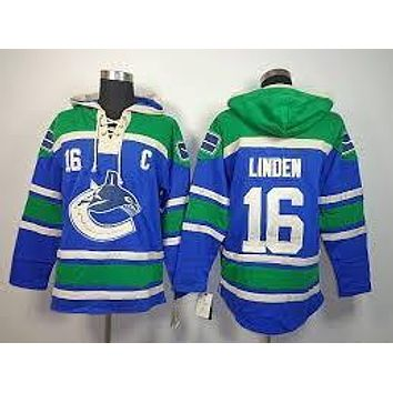 Original Mens Vancouver Canucks 16 Trevor Linden Old Time Blue Best Quality Cheap Embroidery Logo Ice Hockey Hoodies/ Hooded Swe