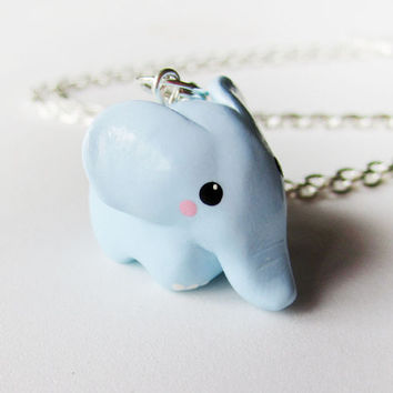 Pastel Blue Cute Baby Elephant Necklace