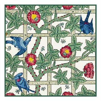 Arts & Crafts Style William Morris Trellis Design Counted Cross Stitch or Counted Needlepoint Pattern