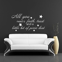 Wall Decal Vinyl Sticker Decals Art Home Decor Murals Quote Decal All you need is faith, trust and a little bit of pixie dust Decals V935