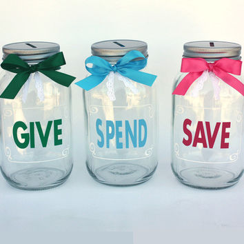 Give, Save, Spend mason jar banks, Coin Slot Lid, Large Quart Size, Customizable Banks, Personalized Mason Jars, Save Spend Tithe, Kids Bank