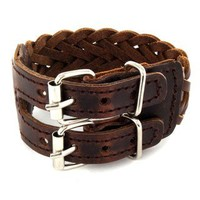Brown Woven Leather Double Buckle Bracelet | Overstock.com