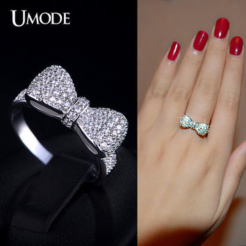 UMODE Bow Knot Ring for Women White Gold Color Micro Inlay Accessories Rings Best Mother's Day Gifts Jewelry for Women UR0157B