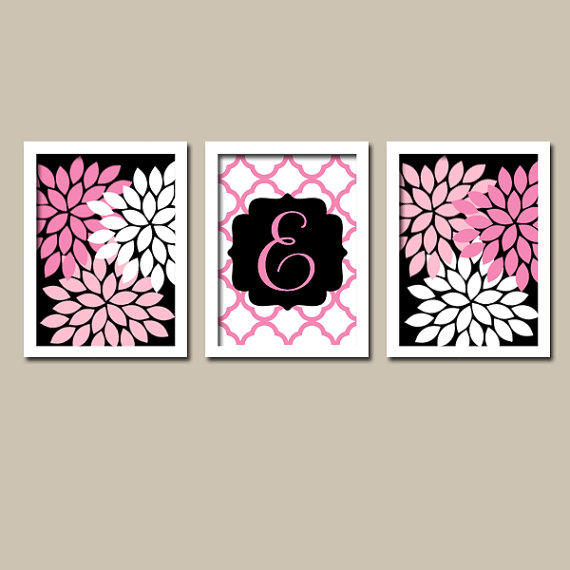 black hot pink monogram flower burst from trm design
