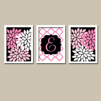 Black Hot Pink Monogram Flower Burst Letter Initial Set of 3 Trio Prints Chevron Wall Decor Abstract Art Bedroom Picture Nursery