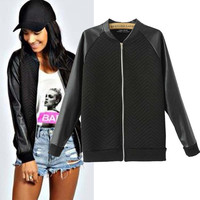 Faux-Leather Long Sleeve Zipper Baseball Jacket