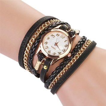 jeansian Women Vintage Weave Rope Leather Charm Colourful Bracelet Watch ZWK001