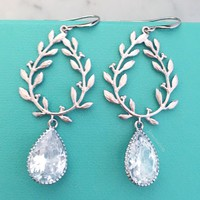 Sterling Silver Laurel Wreath Earrings with Cubic Zirconia Stones