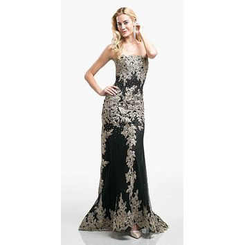 SPECIAL - Black Formal Strapless Long Evening Dress Golden Applique