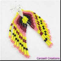 Handmade Fringe Earrings Beadwork Dangle Seed Beaded Mello Yello Colors