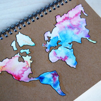 Travel Journal  World map in watercolors