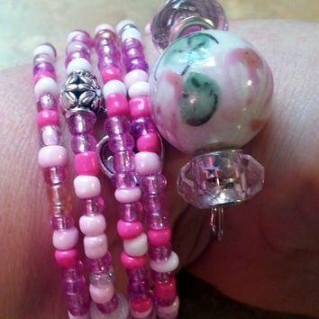 Lovely Pink Memory Wire Bracelet with Charms and Matching Earrings/Be Mine