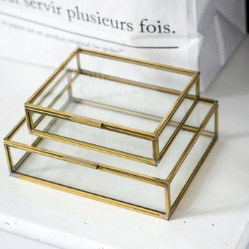 Set of 2 glass boxes | decorative handmade | for workspace  and storage