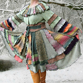 Woodland Pixie Sweater Coat, OOAK Upcycled Sweater Coat, Womens Sweater Coat, 100% Handmade Altered Clothing by Pandora's Passions *ON SALE*