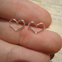 Heart stud earrings, Silver Filled, 20 gauge earrings