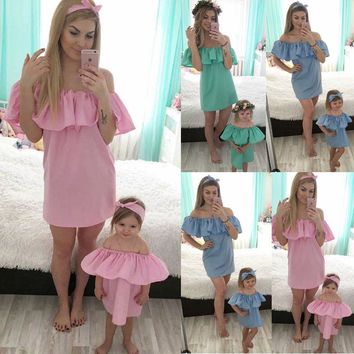 Cute Mother Daughter Matching Outfits Off Shoulder Dress