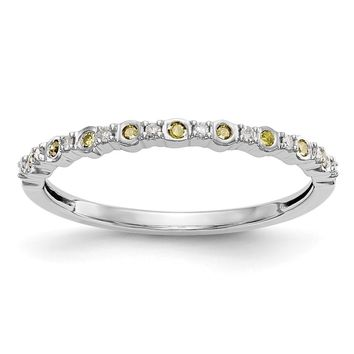 14k White Gold Bezel Set Yellow Diamond And White Diamond Thin Anniversary Band
