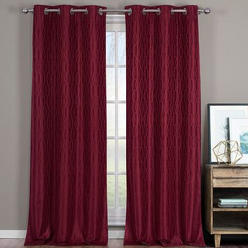 Burgundy 76x63 Voyage Thermal Blackout Grommet Curtain Panels (Set of 2)