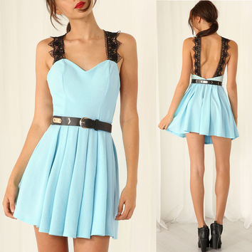 Pleated A-line V-Neck Dress