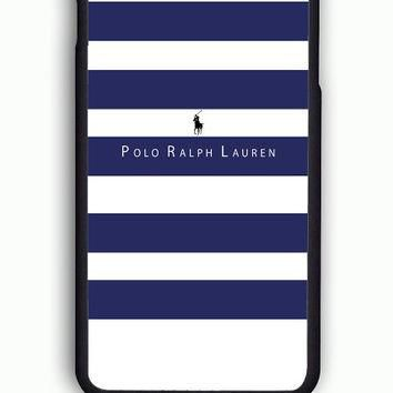 iPhone 6S Case - Hard (PC) Cover with Polo Ralph Lauren Blue White Stripes Plastic Ca