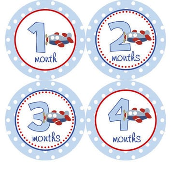 Monthly Onesuit Stickers Baby Month Stickers Baby Boy Blue Red Airplane Pilot Onesuit Month Stickers Baby Shower Gift and Photo Prop Logan2
