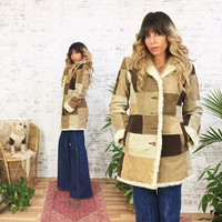 Vintage 1970's Suede PATCHWORK Faux Fur Penny Lane Boho Hippie Jacket Coat || Cream, Brown & Tan || Size Small