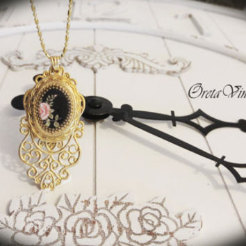 Necklace jewelry vintage, filigree & photo locket pendant, pink rose on black, bridal, antique style, adjustable length, romantic, victorian