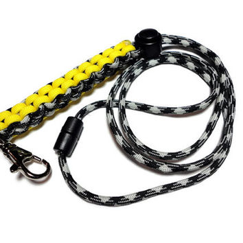 Paracord Survival Lanyard Id Holder Men Black Yellow and Silver Crown Sinnet Weave Handmade USA