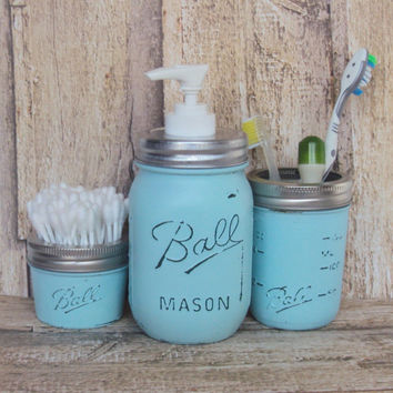 Pastel Aqua Mason Jar Bathroom Set of 3, Pastel Blue Bathroom Mason Jars, Lotion Dispenser, Cottage Chic Mason Jar Bathroom, Mason Jar Soap