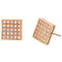 18K Rose Gold Plated Simple Square Crystal Pave Stud Earrings