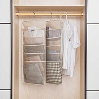 Hanging Organizer Door Organizer Closet Organizer, UNIKON 6 Pockets Dual-sided Hanging Toiletry Bag Book Shelf, Beige