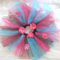 Brown, Pink, and Blue Flower Tutu