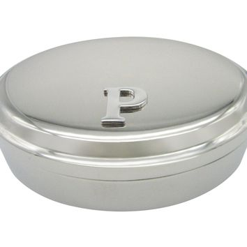 Letter P Monogram Oval Trinket Jewelry Box