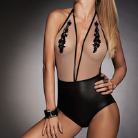 Mapale Wet look and Sheer Mesh Teddy w/embroidery