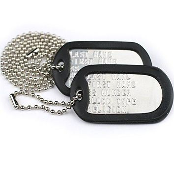 Custom US Military Dog Tags - Includes Two Personalized ID Tags Complete with Steel Chains and Silencers. 8 Color Options Available: Stainless Steel, Black, Blue, Green, Gold, Pink, Purple, or Red.