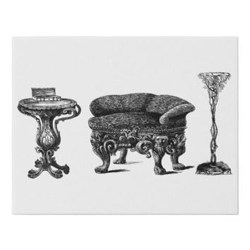 Antique Living Room Furniture Art Illustration Faux Canvas Print
