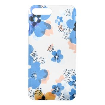 Cool Blue Flower Floral Pattern iPhone 7 Plus Case