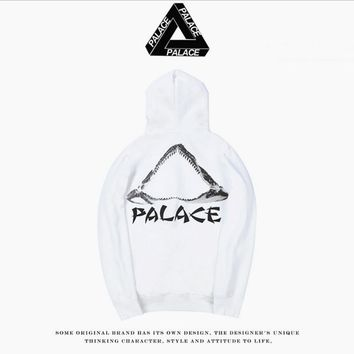 Autumn and winter tide license PALACE SKATEBOARD two-color wild plus cashmere head hooded sweater White
