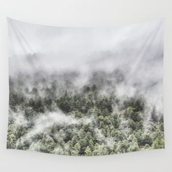 """Mountain light III"". Foggy forest. Wall Tapestry by Guido Montañés"