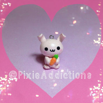 Kawaii Pink Bunny with Carrot Polymer Clay Charm